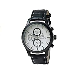 Skone 9406E-3 Chronograph White Dial Leather Strap Wrist Watch / Casual Watch - For Men's