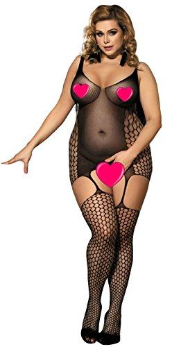 marysgift Damen Sexy Sheer Voll Bodystocking Offen Plus Size Catsuit (Bodystocking Sexy Sheer)
