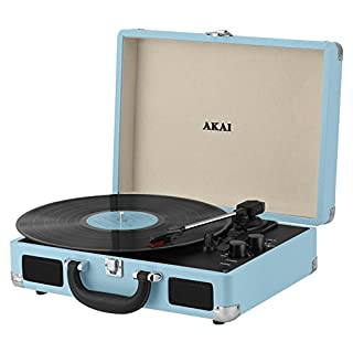 Akai A60011NB Bluetooth Rechargeable Vinyl Turntable Briefcase Style Featuring Bluetooth Connectivity - Blue