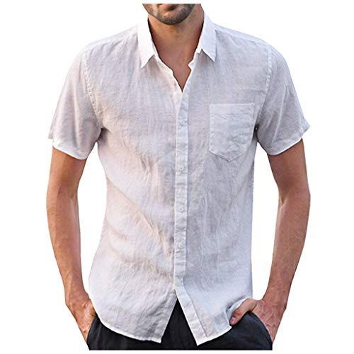 UINGKID Herren T-Shirt Kurzarm Slim fit Baggy Baumwolle Leinen Solide Knopf Retro T Shirts Tops Bluse - Anvil Cotton Tank Top