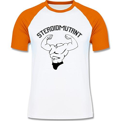 Sonstige Sportarten - Steroidmutant - zweifarbiges Baseballshirt für Männer Weiß/Orange