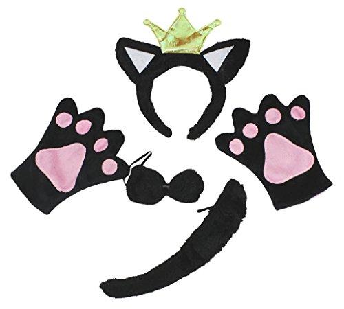 Petitebelle Black Cat Princess Headband Bowtie Tail Gloves -