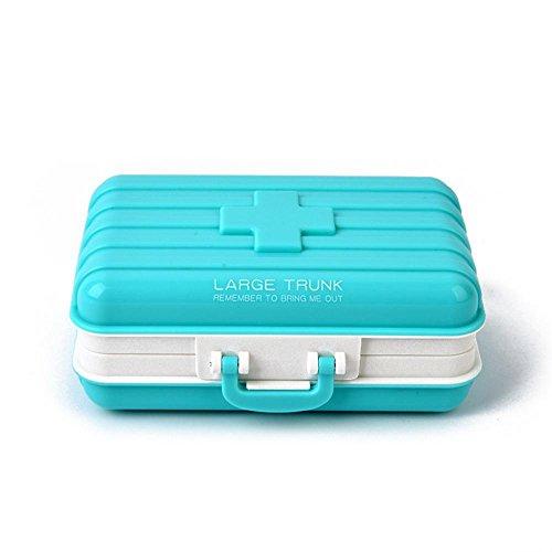 AOLVO 6 Compartimentos Viaje Pastillero, Pastilla Organizador Maleta Forma Caja De Almacenamiento Portable Dispensador de Píldoras - Azul