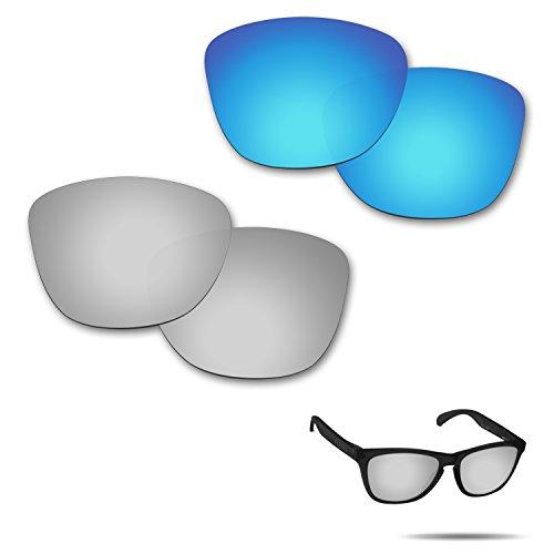 Fiskr Anti-Saltwater Polarisierte Ersatz Gläser für Oakley Frogskins-Sonnenbrille 2Paar Verpackt, Ice Blue & Metallic Silver