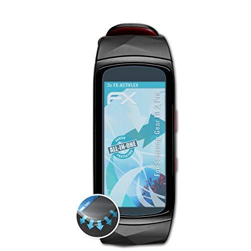 atFoliX Schutzfolie passend für Samsung Gear Fit 2 Pro Folie, ultraklare und Flexible FX Displayschutzfolie (3X)