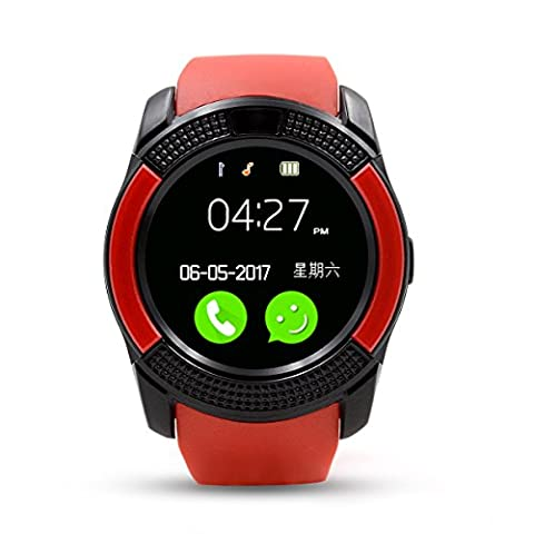 Montre Connectée ,Bluetooth Smart Watch ,Anding Bracelet Sports Fitness Tracker SIM TF Card avec podometer Sleep Monitor Imperméable sans fil Smart Bracelet pour Android iPhone(rouge)