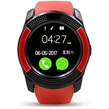 IWO V8 Bluetooth Smart Watch Sport Fitness Tracker SD Karte SIM Karte Smartwatch Telefon Schrittzähler Schlaf Monitor Walking Distanz Wireless Smart Armband für IOS Android Handys (Rot)