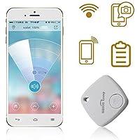 Sidiou Group Mini Bluetooth Rastreador Bolsa Niño Alarma Monedero Anti-perdido Rastreador Clave Pet Smart Buscador Mini GPS localizador de alarma para Android IOS (blanco)