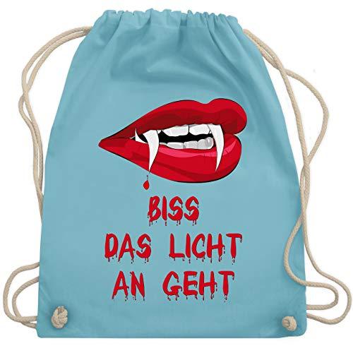 Halloween - Biss das Licht an geht Vampir - Unisize - Hellblau - WM110 - Turnbeutel & Gym Bag