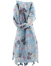Zest Sonia Floral Butterfly Print Fashion Scarf with Tassel Ends