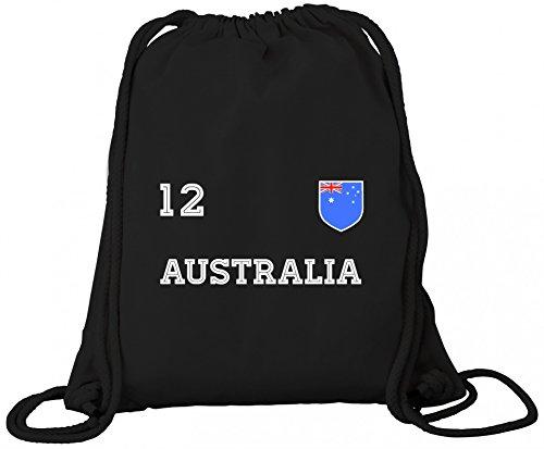 ShirtStreet Australia Fußball WM Fanfest Gruppen Premium Bio Baumwoll Turnbeutel Rucksack Stanley Stella Trikot Australien, Größe: onesize,Black