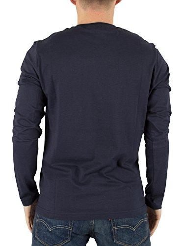 Original Penguin Herren Longsleeved Pin-Punkt-Logo-T-Shirt, Blau Blau