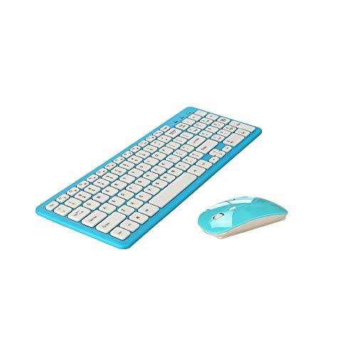 DZCP T5 Professionelle leichte, tragbare Office-Tastatur und -Mauskombination Drahtlose USB-Schnittstelle DPI-Einstellung Home Office Geeignet für Computer, Laptops, Smart-TVs und Mehrfarbig