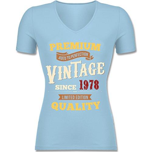 Shirtracer Geburtstag - 40. Geburtstag Vintage 1978 - Tailliertes T-Shirt mit V-Ausschnitt für Frauen Hellblau