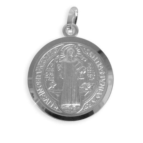 Sterling Silber 925 Heiliger Benedikt Medaille Anhänger Durchmesser 18mm (Art.213324)