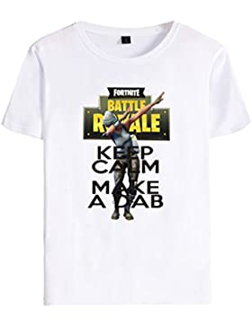EMILYLE Unisex Fortnite Keep Calm Dab T-Shirt Personajes De Fortnite Impreso Figura Camiseta para Niño