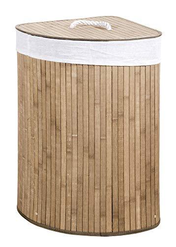 Verdelook cesto porta biancheria ad angolo naturale con coperchio e maniglie foderato, 35x35x60 cm