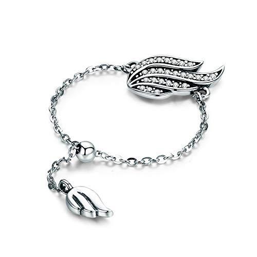 JIAXUN Ring 925 Sterling Silber Öffnung verstellbare Elf Flügel mit Zirkon Lady Ring, Lady Geschenk, Geburtstagsgeschenk, Mutter Geschenk gesetzt (Elf Ehering Gesetzt)