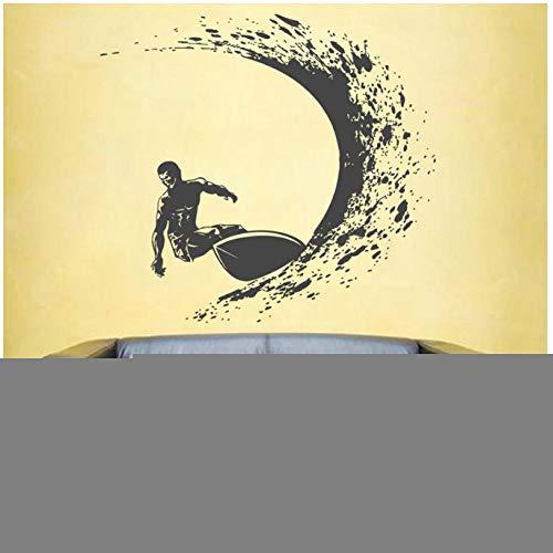 Surfen Wandtattoos Surfer Wandaufkleber Surfen Sporttattoos Surfbrett Wandtattoos Wellen Wandtattoos Für Jungen Beadroom 62X57Cm - Jungen Neue Wellen