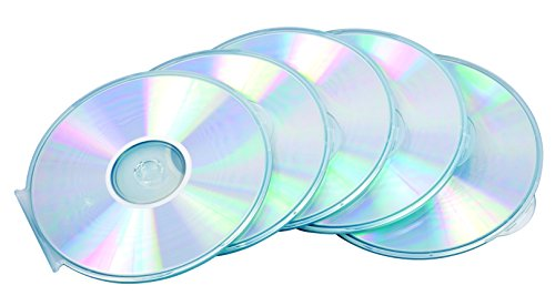 Fellowes 9834201 Custodia Rotonda CD/DVD Jewel Round Slim, Confezione da 5 Pezzi