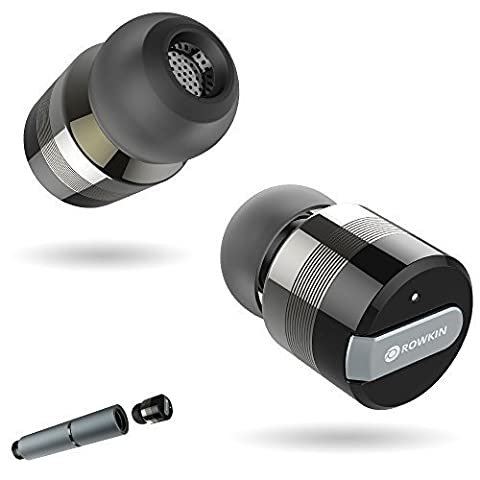 Rowkin Bit Stereo Bluetooth Headphones, Wireless Earbuds with Mic. Smallest Cordless Hands-Free In-Ear Earphones Headsets with Portable Charger & Noise Reduction for Running and iPhone.ƒ