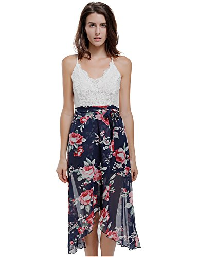 Blooming Jelly Women's Halter Neck Deep V Asymmetrical Floral Dress