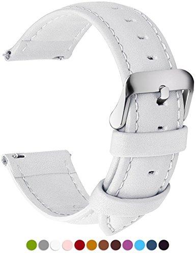 12 Farben Uhrenarmband, Fullmosa Axus Serie Lederarmband Ersatz-Watch Armband mit Edelstahl Metall Schließe für Herren Damen 18mm Weiß