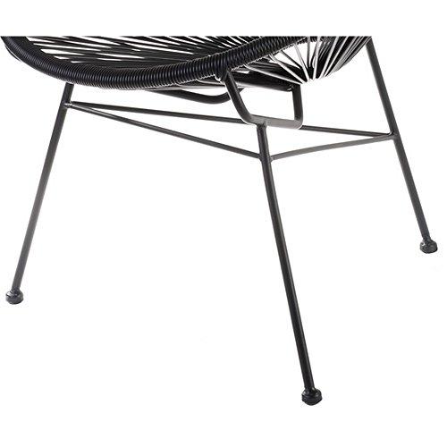 Fauteuil Acapulco Noir Acier et cordage plastique Intérieur et extérieur La chaise longue 32-M1-022N