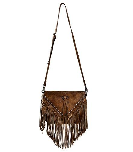 ZLYC Dip Dye Leder Umhängetasche mit langen Fransen im Böhmischen Style Handtasche Troddelbeutel Damentasche - Dye Tasche