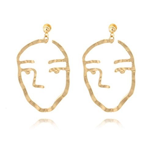 Schmuck DAY.LIN Schmuck DAY.LIN Mode Frauen Gesicht Ohrringe Metalllegierung Vintage Gesicht Look Aushöhlen Ohrringe (A)