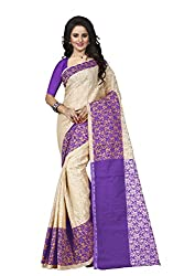 Trendz Womens Cotton Silk Saree(TZ_Padmavati_Purple_Purple_Free Size)