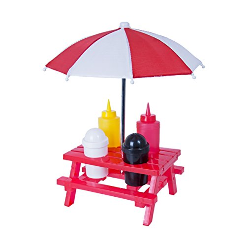 Global Gizmos Classic BBQ Picknick tischgewürz-Set. Tisch, Sonnenschirm, Salz, Pfeffer, Ketchup und Senf, rot