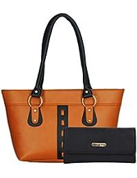 Fristo Women Handbag And Wallet Combo(FRWC-021)Tan And Black