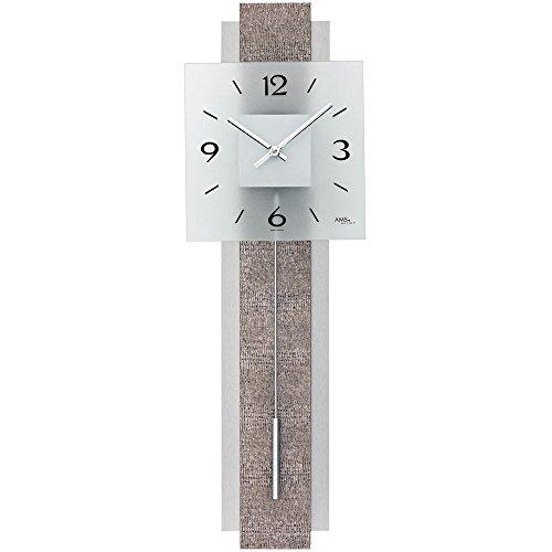 AMS 7322-Orologio a pendolo dal design moderno ecopelle su legno parete posteriore-Orologio grande orologio a pendolo decorativo