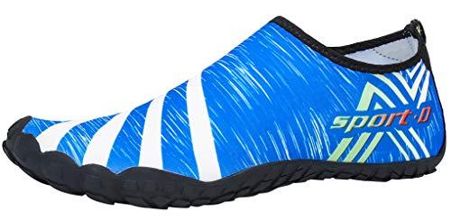 SAGUARO Herren Damen Badeschuhe Wasserschuhe Schwimmschuhe Barfuß Outdoor Walking Fitnessschuhe Watschuhe Aqua Schuhe für Strand Meer Surfen Bootsport Angeln, Blau, 45 EU