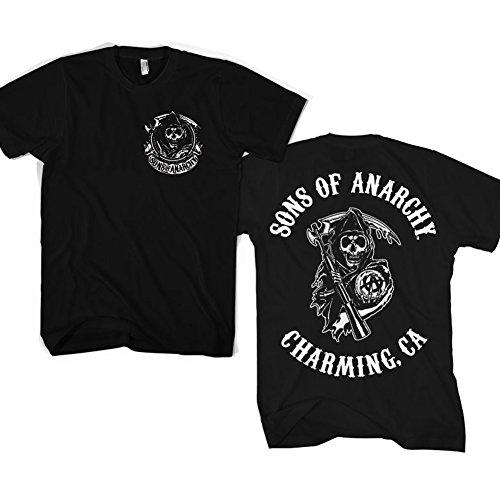 Officially Licensed Merchandise SOA Full CA Backprint T-Shirt (Black), XX-Large