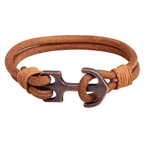 Bazaar Anchor Leder Armband Weinlese doppelte Schicht Männer Armband Ketten Bekleidung Accessoires