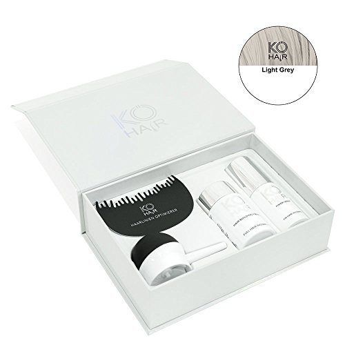 KÖ-HAIR Fiber Set Streuhaar, Applikator Haarlinienoptimierer und Fixier Spray zur Haarverdichtung Farbe Hellgrau