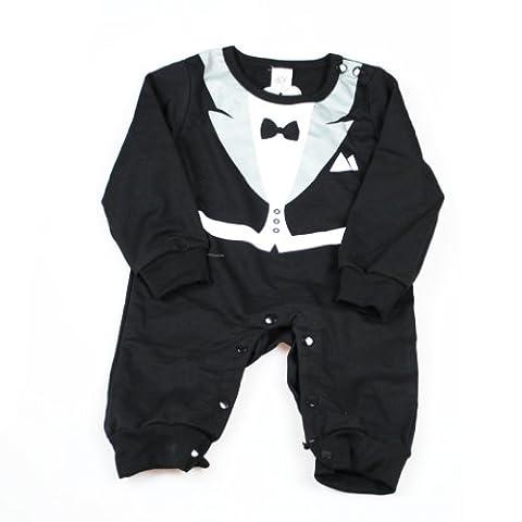 xhorizon® T128 Herr Fliege Smoking Anzug Baby LangarmStrampler(Schwarz,6-12 Monate)