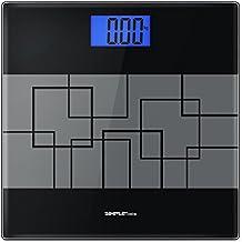 SimpleTaste Bilancia Pesapersone Digitale Elettronica, 180kg/400lb, Piattaforma Vetro Temperato, Nera