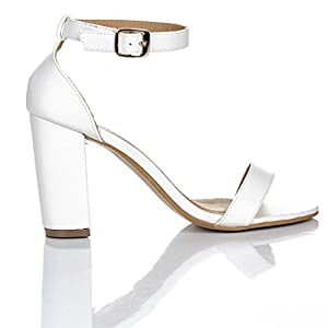 GLAMZ by Shoes Click Womens Ladies Block High Heel Ankle Strap Peep Toe Strappy Sandals UK Sizes 3-8 (4 UK, White)