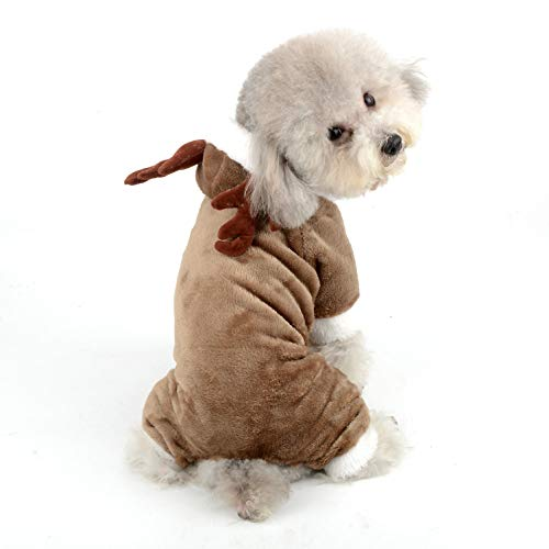 Ranphy Hundekostüm, Weihnachten, Rentier, Jumpsuit, Haustier, Winter, Fleece, Kapuzenpullover, Elch-Outfit, warm, Chihuahua-Kleidung, lustiges Kostüm für Kleine Hunde und Katzen (Neue Jahre Baby Kostüm)