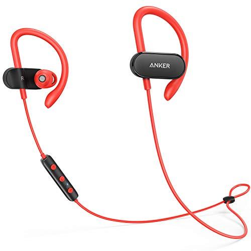 Anker SoundBuds Curve Bluetooth Kopfhörer Bluetooth 4.1 Sport Kopfhörer mit Ohrbügeln/Wasserschutzklasse IPX5/14-Stunden-Spielzeit/CVC Lärmreduzierung/Mikrofon(Rot) (Zertifiziert Generalüberholt)