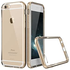 Gold Electroplated Shock Absorbent TPU Bumper Phone Case with Transparent / Clear PC Back for iPhone 6 Plus (2016) By ZEUZZ