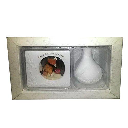 Russ Berrie Geschenkset für Jahrestag, weiße Spitze und Versprechungen, Porzellan-Bilderrahmen und Vase Russ Vase