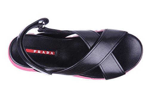 Prada sandales femme en cuir noir Noir