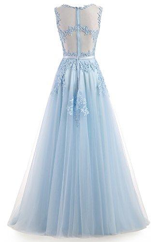 Ever Love A-Linie Lang Spitze T¨¹ll R¨¹ckenfrei Abendkleid Ballkleid Hochzeit Brautjungfernkleid mit Tr?ger Himmelblau-36