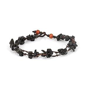 MGD – Schwarzem Onyx Perlen Fußkettchen – Edelstein Fußkettchen – Schöne Handgemachte Mode Schmuck für Damen – Kinder und Jugendliche – JB-0116A