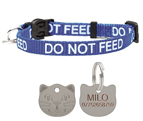 Cat Collar Do Not Feed With Bell Quick Release Free Engraved Cat Face ID Tag (Blue)