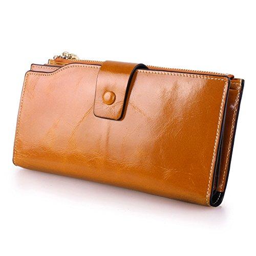 VANCOO Große Kapazität Luxus Wax Frauen-echtes Leder-Geldbörse mit Reißverschluss-Tasche (hochgradigem-Paket) (Brown)